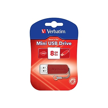 Verbatim ® Store 'n' Go 8GB Mini USB 2.0 Flash Drive, Red (49831)