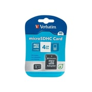 Verbatim ® 96726 Class 4 4GB microSDHC Memory Card with Adapter