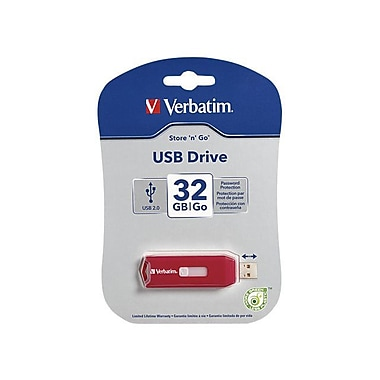 Verbatim ® Store 'n' Go 32GB USB 2.0 Flash Drive, Red (96806)