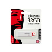 Kingston DataTraveler 32GB USB 3.0 Flash Drive, Red and White (DTIG4/32GB)