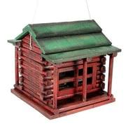 American Expedition Wood Log Cabin Decorative Bird Feeder