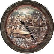 American Expedition 15'' Cabin Scene Rusty Metal Clock