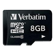Verbatim® 44081 Premium Class 10/UHS-I 8GB microSDHC Card with Adapter
