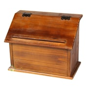 Quickway Imports Old Wooden Podium Recipe Box