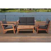 International Home Miami Amazonia Chicago 4 Piece Deep Seating Group with Cushions; Black