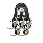 Hamilton Buhl HA-66USBSM Sack-O-Phones 5-User Deluxe MultiMedia USB Headphones with Microphone Kit, Beige