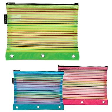 Merangue 3 Ring Binder Mesh Rainbow Pouch, 12/Pack