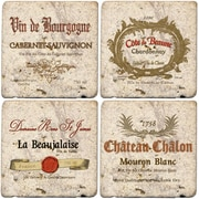 Thirstystone 4 Piece Wine Labels Travertine Ambiance Coaster Set