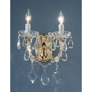 Classic Lighting Rialto 2 Light Wall Sconce; Gold Plated