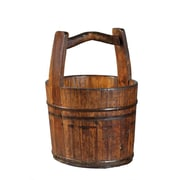 Antique Revival Vintage Water Bucket with Crested Handle; Natural