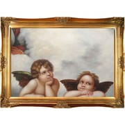 Tori Home Madonna Sixtina (2 Cherubs Detail) by Raphael Framed Hand Painted Oil on Canvas