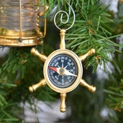 Handcrafted Nautical Decor Ship's Wheel Compass Christmas Tree Ornament