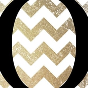 iCanvas O - Bold Chevron Textual Art on Canvas in Black and Gold; 18'' H x 18'' W x 1.5'' D