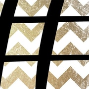 iCanvas Sharp - Bold Chevron Textual Art on Canvas in Black and Gold; 18'' H x 18'' W x 0.75'' D
