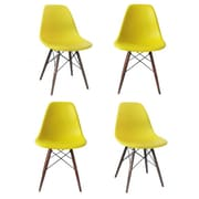 eModern Decor Shell Matte Side Chair (Set of 4); Yellow