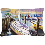 Caroline's Treasures Sailboat at The Fairhope Yacht Club Docks Indoor/Outdoor Throw Pillow