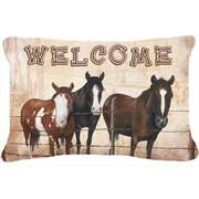 Caroline's Treasures Welcome Mat with Horses Indoor/Outdoor Throw Pillow