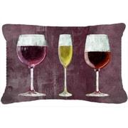 Caroline's Treasures Three Glasses of Wine Indoor/Outdoor Throw Pillow