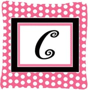 Caroline's Treasures Letter Initial Monogram Pink Black Polka Dots Indoor/Outdoor Throw Pillow; C