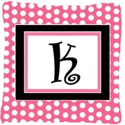 Caroline's Treasures Letter Initial Monogram Pink Black Polka Dots Indoor/Outdoor Throw Pillow; K