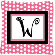 Caroline's Treasures Letter Initial Monogram Pink Black Polka Dots Indoor/Outdoor Throw Pillow; W