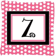 Caroline's Treasures Letter Initial Monogram Pink Black Polka Dots Indoor/Outdoor Throw Pillow; Z