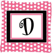 Caroline's Treasures Letter Initial Monogram Pink Black Polka Dots Indoor/Outdoor Throw Pillow; D