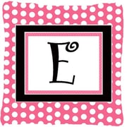 Caroline's Treasures Letter Initial Monogram Pink Black Polka Dots Indoor/Outdoor Throw Pillow; E