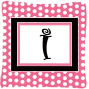 Caroline's Treasures Letter Initial Monogram Pink Black Polka Dots Indoor/Outdoor Throw Pillow; I