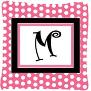 Caroline's Treasures Letter Initial Monogram Pink Black Polka Dots Indoor/Outdoor Throw Pillow; M