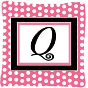 Caroline's Treasures Letter Initial Monogram Pink Black Polka Dots Indoor/Outdoor Throw Pillow; Q