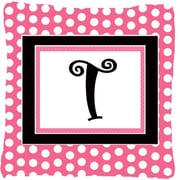 Caroline's Treasures Letter Initial Monogram Pink Black Polka Dots Indoor/Outdoor Throw Pillow; T