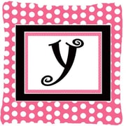Caroline's Treasures Letter Initial Monogram Pink Black Polka Dots Indoor/Outdoor Throw Pillow; Y