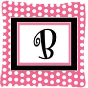 Caroline's Treasures Letter Initial Monogram Pink Black Polka Dots Indoor/Outdoor Throw Pillow; B