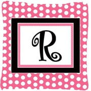Caroline's Treasures Letter Initial Monogram Pink Black Polka Dots Indoor/Outdoor Throw Pillow; R