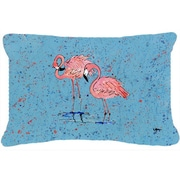Caroline's Treasures Flamingo Indoor/Outdoor Throw Pillow; Blue