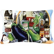 Caroline's Treasures Eggplant and New Orleans Beers Indoor/Outdoor Throw Pillow