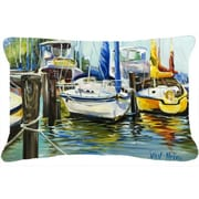 Caroline's Treasures Yellow Boat II Sailboat Indoor/Outdoor Throw Pillow