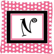 Caroline's Treasures Letter Initial Monogram Pink Black Polka Dots Indoor/Outdoor Throw Pillow; N