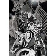 iCanvas The Avengers in Black & White, Movie Poster by Marvel Comics Graphic Art on Canvas