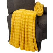 BOON Throw & Blanket Derby Double Sided Faux Fur Throw Blanket; Lemon