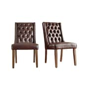 Kingstown Home Leonora Side Chair (Set of 2); Bonded Leather / Brown
