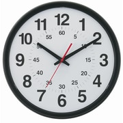 TEMPUS 14 Inch DST Auto-Adjust Minute-Minder Black Wall Clock (TC7913B)