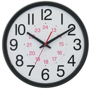 TEMPUS 14 Inch DST Auto-Adjust 24-Hour Black Wall Clock (TC7905B)