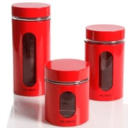 Mr. Coffee Java Bar Glass Canister Set, Red (93586592M)