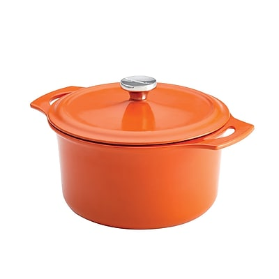 Rachael Ray Cast Iron Round Casserole, 5 Quart, Orange (93591831M) 1949748