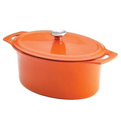Rachael Ray Cast Iron Oval Casserole, 6.5 Quart, Orange (93591832M) 1949716