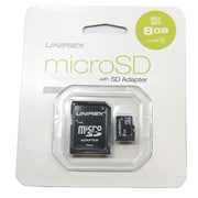 Unirex MSD-085 Class 10 8GB microSDHC Flash Memory Card with SD Adapter