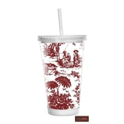 Baby Milano Toile 16 oz Double Wall Insulated Tumbler; Burgundy