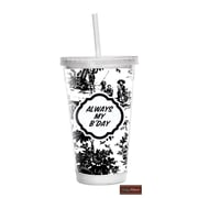 Baby Milano Toile 16 oz Double Wall Insulated Tumbler; Black and White